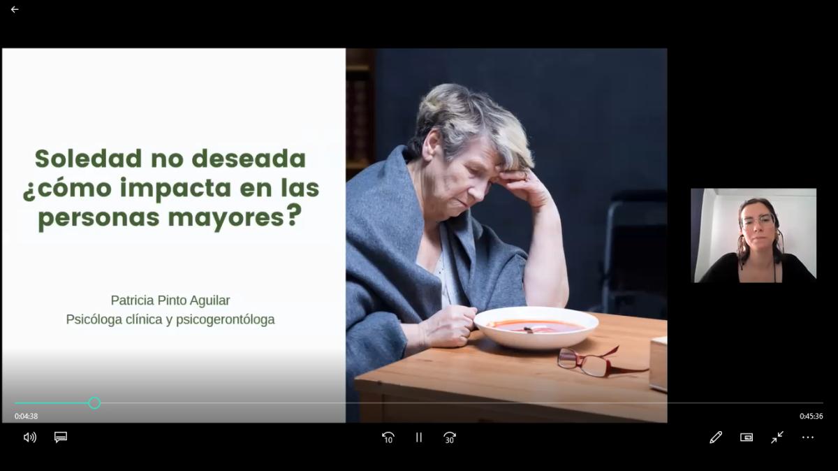 Charla: Soledad no deseada ¿cómo impacta en las personas mayores? Autora Ps. Patricia Pinto. May2020