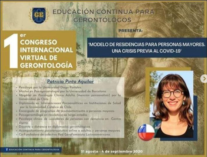 Charla: Congreso Internacional de Gerontología: Modelo de Residencias para personas mayores. Una crisis previa al COVID-19. Sep2020